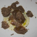 Risotto of Italian Umbria shaved black summer truffle with Weiser Farm white corn.