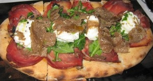 truffle tart 300x159 Italian Umbria shaved black summer truffle tart with Coppa ham, buratta and Arbequina olive oil