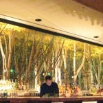 Rows of artistically synthesized trees behind the bar