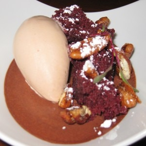 Valrhona chocolate custard with red velvet cake, pecans, cocoa nib ice cream