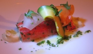 King crab with avocado, papaya and heart of palm
