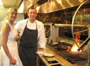 sophie gayot sven mede 300x220 Executive chef Sven Mede with Sophie Gayot by the rotisserie