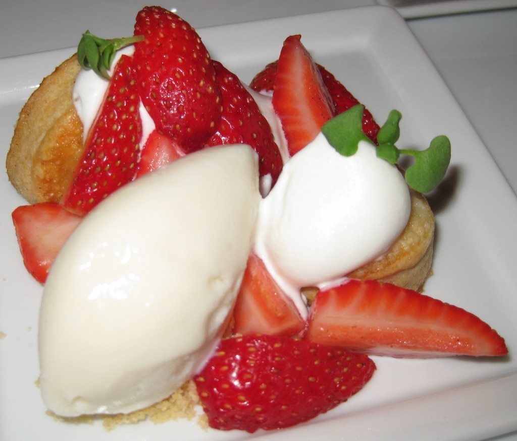 Stawberry shortcake with market berries and almond sorbet