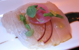 yellowtail sashimi 300x191 Yellowtail sashimi with fermented black garlic, pluots and shiso