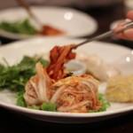 The artful presentation of kimchi at a Korean restaurant