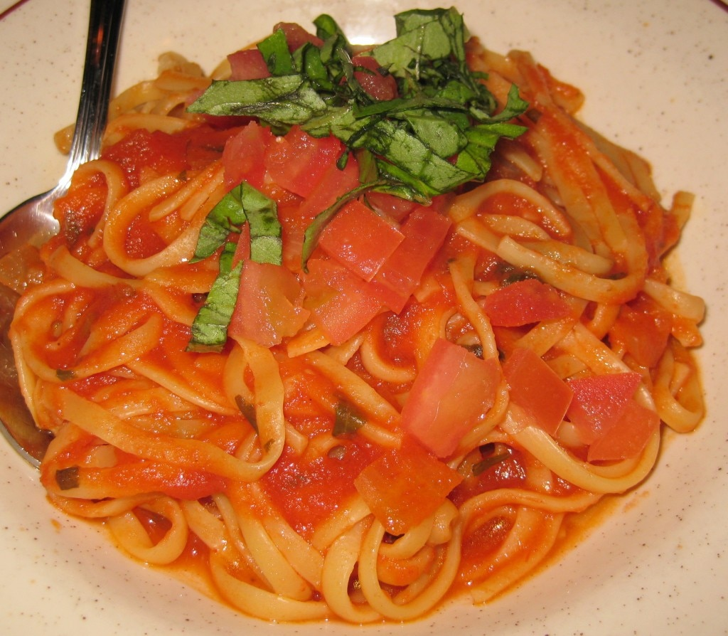 Pasta provencale with tomato, garlic, trarragon, fresh basil and onions