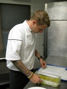 Chef Michael Voltaggio hard at work in the kitchen