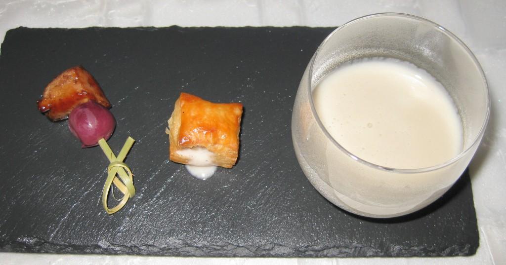 Jerusalem artichoke soup amuse-bouche with calf liver