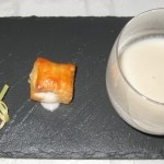 Jerusalem artichoke soup amuse-bouche with calf liver