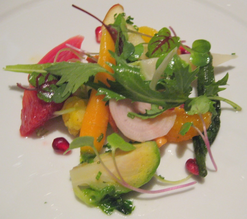 """Market vegetable """"chop salad"""" with petites herbs and Champagne vinaigrette"""