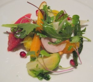 "Market vegetable ""chop salad"" with petites herbs and Champagne vinaigrette"
