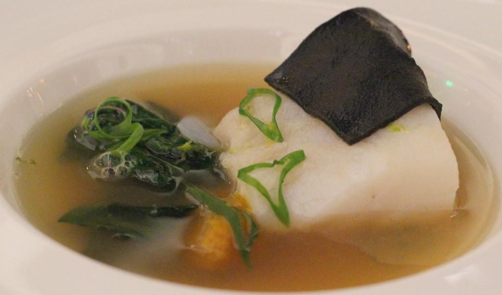Day boat Blackburn Chatham cod with squid ink spaghetti, autumn greens, romano squash and citrus dashi broth