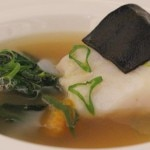 Day boat Blackburn Chatham cod with squid ink spaghetti, autumn greens, romano squash and citrus dashi broth