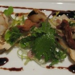 Salad of fresh matsutakes and duck confit, with seckel pear and chicory