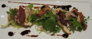duck confit 300x129 Salad of fresh matsutakes and duck confit, with seckel pear and chicory