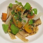 Handmade fettucini farchezzi with local chestnuts, Jim Core's acorn squash and citrus brown butter