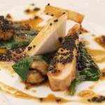 Skinless roasted guinea hen with chestnut milk, domestic caviar and Coleman's Farm spinach leaves