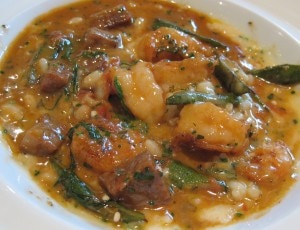 gulf shrimp 300x230 Jumbo gulf shrimp and okra stew with San Marzano tomatoes and spicy pork sausage