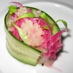 Hamachi tartare with English cucumber, watermelon radish, buddah hand oil and fingerlime