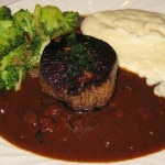 Blackened beef with debris sauce