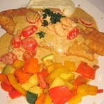 Pan-fried flounder with shrimp herbal brie cream