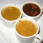Trio of soups: chicken and andouille gumbo; leek, shiitake mushroom and sun-dried tomato champagne cream soup; and cheeseburger soup
