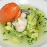 Kumamoto oysters with avocado, tomato consommé and bloody mary sorbet