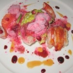Slow poached lobster, Coleman's Farm butter lettuce, sweet onion and pomegranate hot and snow