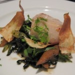 Olive oil poached lemonfish with Covey Rise baby fennel, salsify, parsnip and Meyer lemon vinaigrette