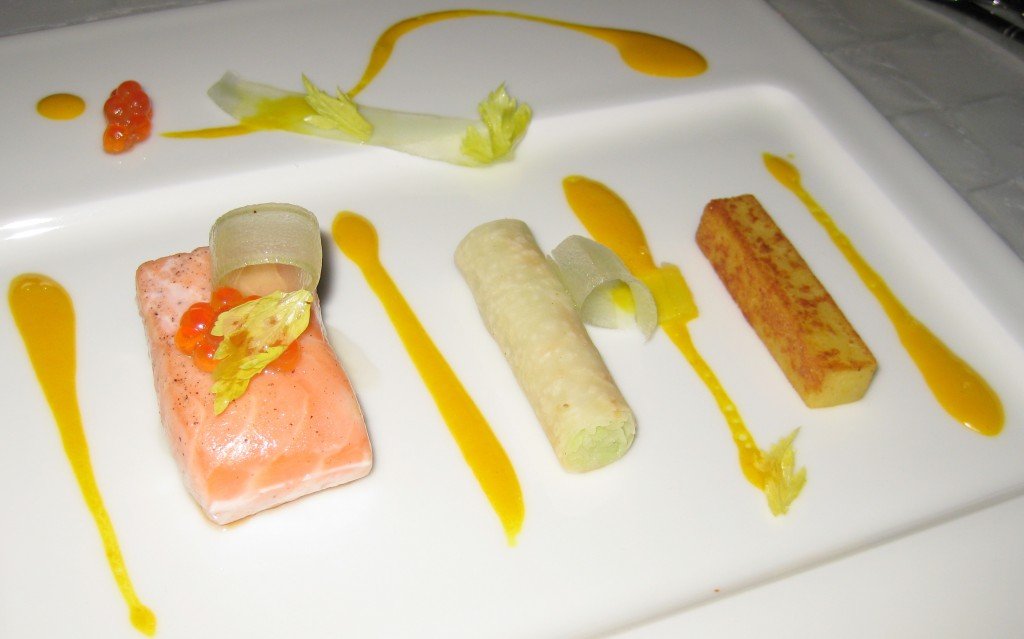 Smoked-baked Loch Duart salmon with pomme macaire, celery and kohlrabi fondant-croquant, and uni