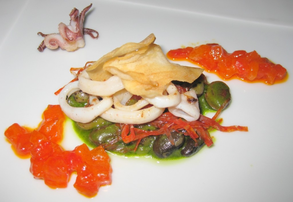 Sautéed Monterey calamari with tarbais white beans, chorizo, sweet pepper confit and basil sauce