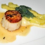 Maine diver sea scallops with hand-rolled pasta, sunchoke purée, cardoons and truffle butter sauce
