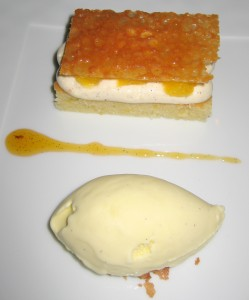 Spanish virgin with yogurt and olive oil pound cake, vanilla cream, orange confit and olive oil ice cream