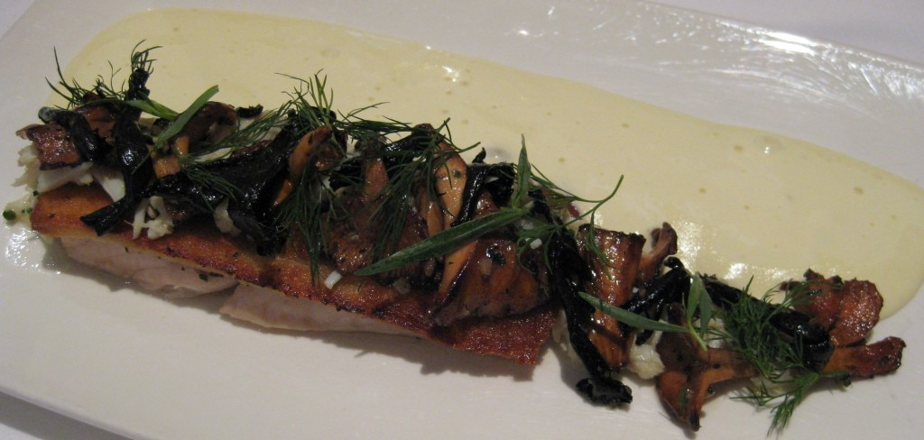 "Speckled trout ""potchartrain"" with jumbo lump crab meat, wild mushrooms and sauce hollandaise"