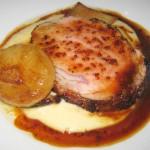 Oven-roasted veal rib-eye with liquid polenta, cipollini, royal trumpet mushrooms and whole grain mustard