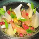 Artichokes & citrus with orange blossom dressing and pomegranate