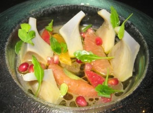 artichokes citrus 300x223 Artichokes & citrus with orange blossom dressing and pomegranate