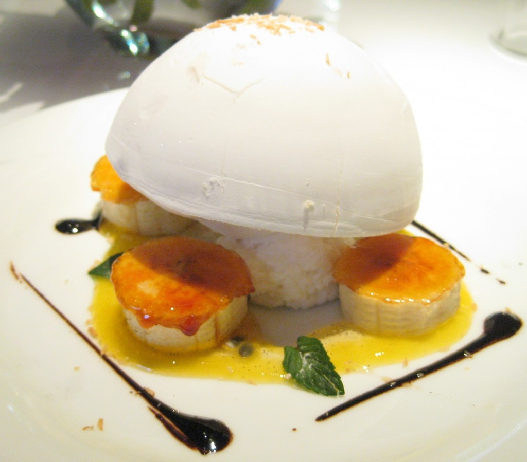 Nitro coconut floating island, passion fruit and vanilla