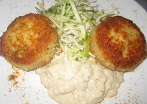 crab cakes 300x213 Crab cakes with rémoulade, frisée and herb salad
