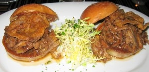 duck confit sliders 300x146 Duck confit sliders with orange gastrique and frisée salad