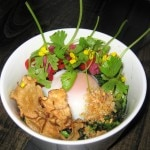 Kelley's Mom's Farm Egg with brassicas, pickled rose hips, chili, fried garlic and boiled peanuts