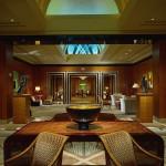 The elegant main lobby of the Four Seasons Hotel San Francisco