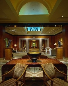 The elegant main lobby of the Four Seasons Hotel San Francisco