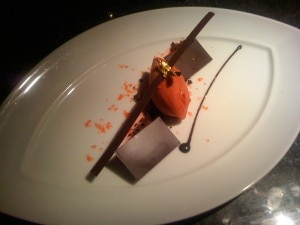 Raspberry sorbet with house-made chocolate tiles