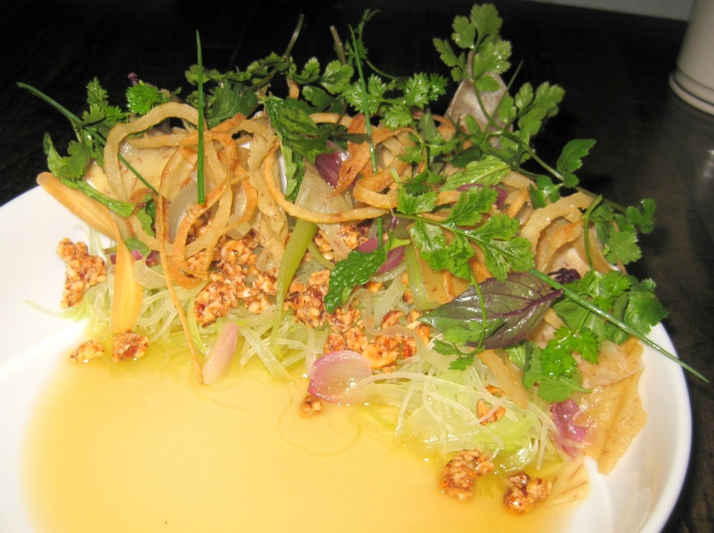 Green papaya with pickled roots, crispy taro, tree nuts, nuoc cham