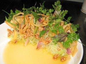 green papaya 300x223 Green papaya with pickled roots, crispy taro, tree nuts, nuoc cham