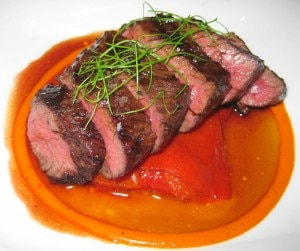 hanger steak 300x251 Beef hanger steak, piquillo pepper confit, natural jus