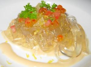 Lemon spaguettis, dashi, parmesan, quail egg