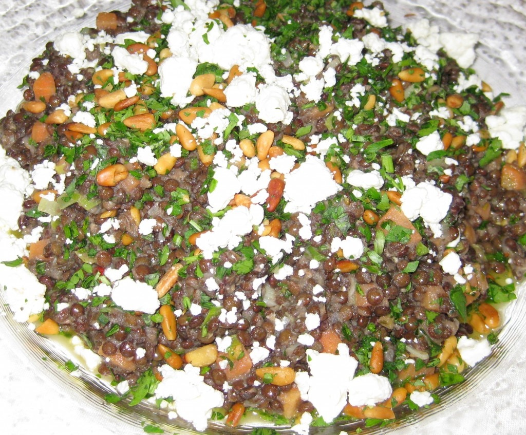 Beluga lentils with carrots, pine nuts and feta
