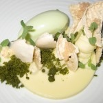 Lime sabayon with cucumber ice cream, cashew macaroons, white chocolate and jasmine
